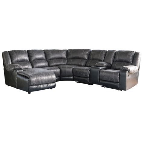 leather reclining sectional sofa with chaise signature design by ashley nantahala faux leather