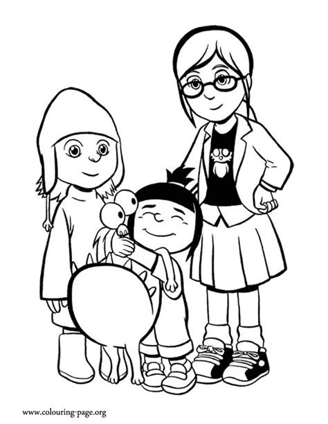 despicable me margo agnes edith and kyle coloring page