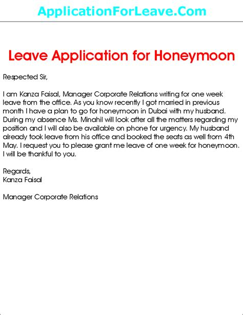 school leave application for vacation sle leave application for honeymoon