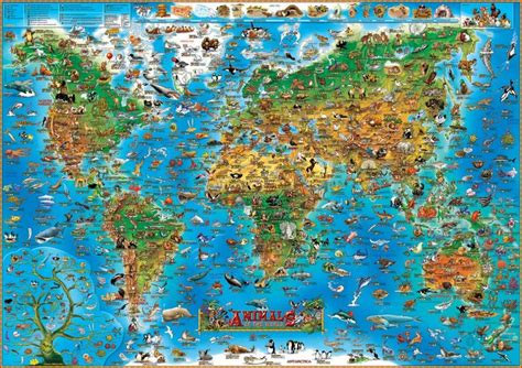 printable jigsaw map of the world animals of the world jigsaw puzzle puzzlewarehouse com