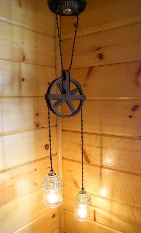 bathroom light pulley industrial chic vintage pulley insulator hanging light industrial over the and bath
