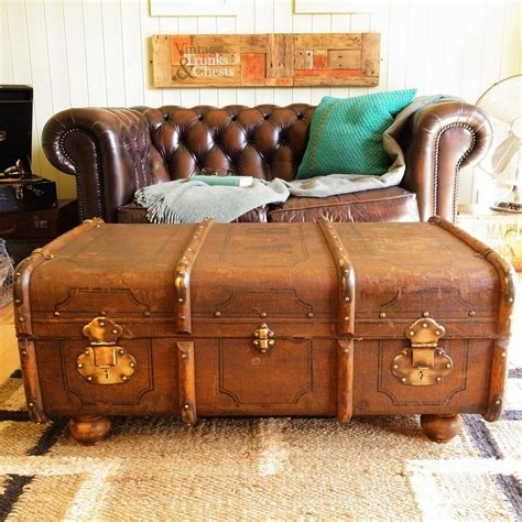 vintage steamer trunk chest banded railway luggage