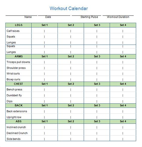 workout calendar templates 10 download documents in pdf