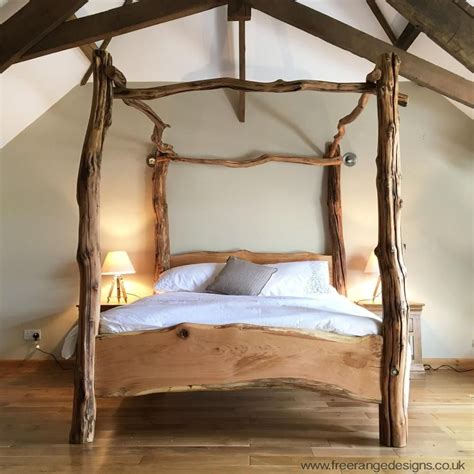 Beds Wooden Frames Rustic Oak Four Poster Tree Bed Beautiful Chunky Wooden Bed Frame Solid Oak Tree Bed Wooden