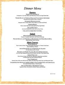 menu for dinner sle dinner menu