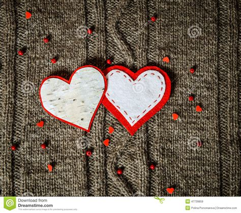 Handmade Hearts - handmade hearts decoration on warm knitted background