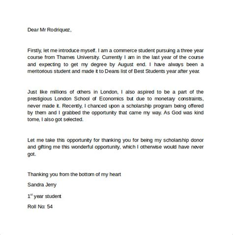 Thank You Letter Scholarship How To Write A Thank Letter For Scholarship Cover Letter Templates