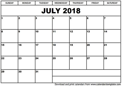 printable calendar july 2018 july 2018 calendar printable onlyagame
