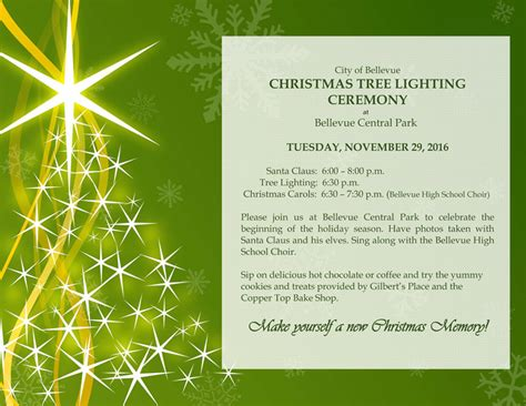 City Of Bellevue 187 Tree Lighting Ceremony Tree Lighting Flyer Template