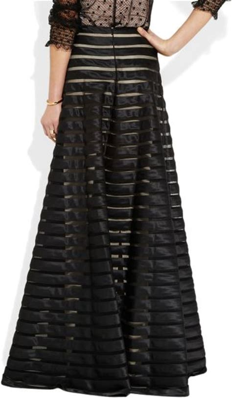 temperley satin and tulle maxi skirt in gold black