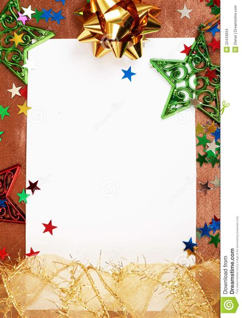 white christmas card with decorations stock photo image
