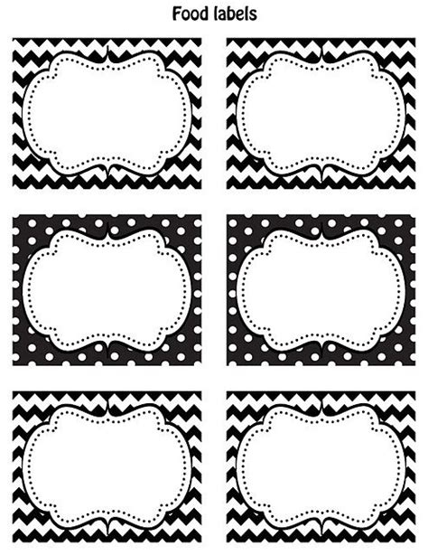 printable glass labels free printable food labels black white chevron and polka