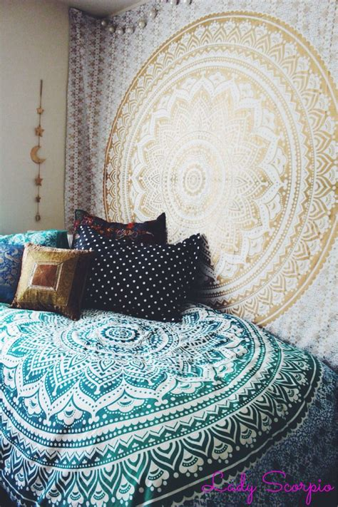 bedroom tapestry lady scorpio bedroom turquoise gold hippy trippy duvet