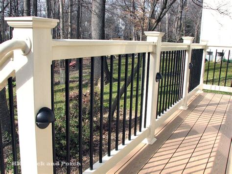 Deck Railing And Balusters Vinyl Deck With Deckorators Black Aluminum Balusters