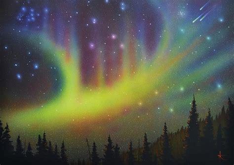 Home Decor Lights Online aurora borealis yellow streak painting by thomas kolendra