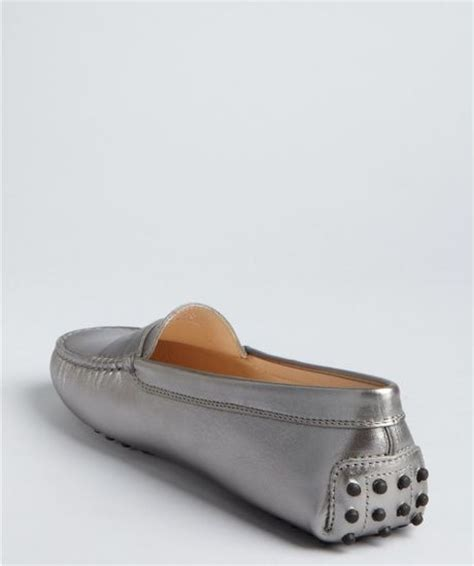 silver loafers metallic tod s silver metallic leather moc loafers in silver