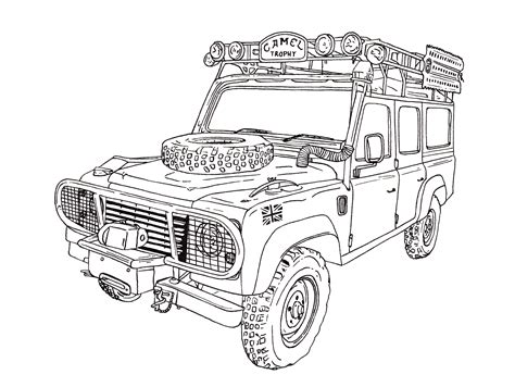 4x4 Sketches by Camel Trophy Land Rover Defender 110 Ink Drawing Land