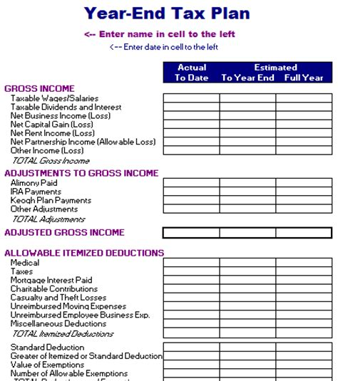 income tax template year end tax plan template free layout format