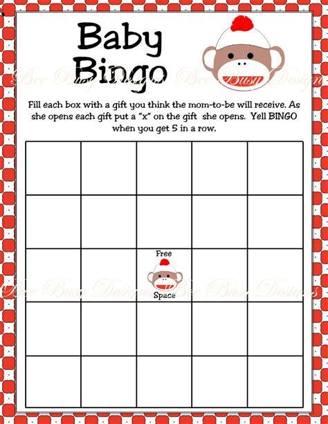 printable games bingo printable sock monkey baby shower bingo game bee busy