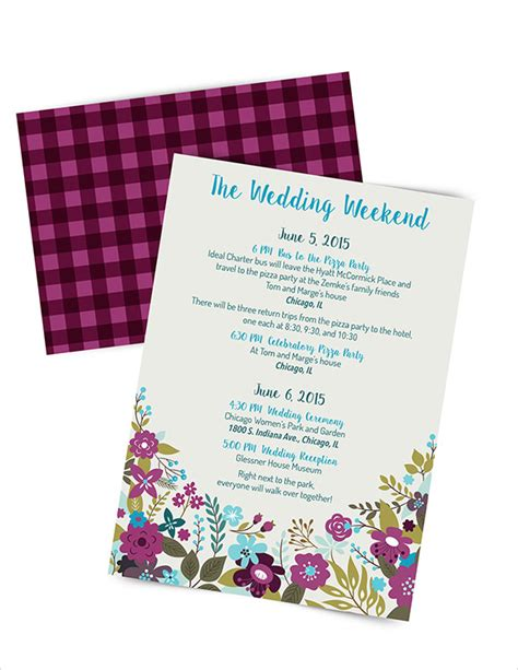 sample wedding weekend itinerary templates
