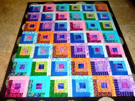 Quilt Squares 42 Bright Log Cabin Quilt Fabric Blocks Squares Top Ebay