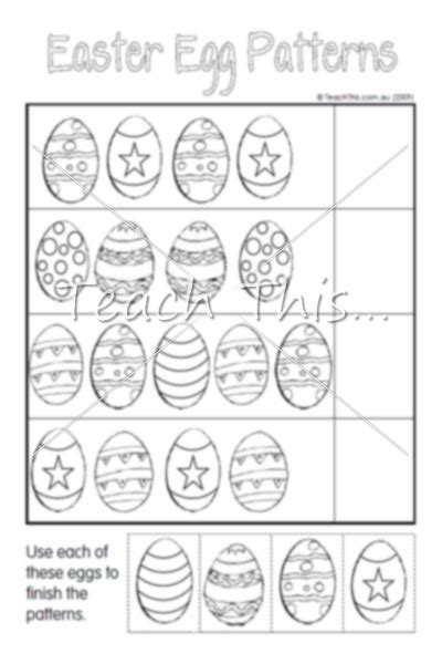 easter pattern activities egg patterns easter teacher resources worksheets and