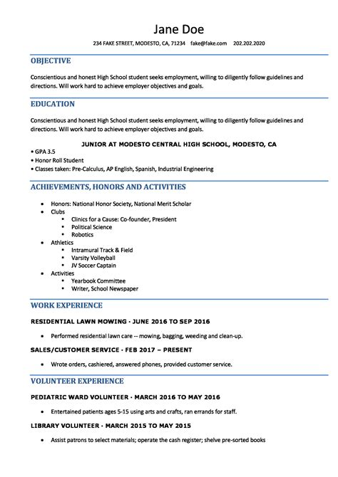 ideas collection resume sample high school student on template