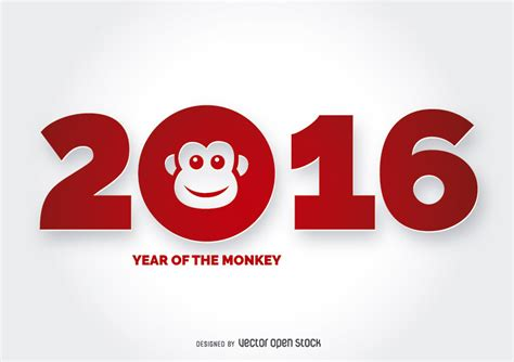 new year the year of the monkey 2016 year of the monkey design free vector