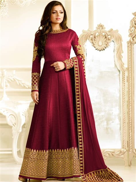 Bombay Home Decor by Nitya Wine Semi Stitched Embroidered Gown Style Suit