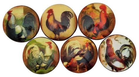 set of 6 rooster oversized cabinet knobs country