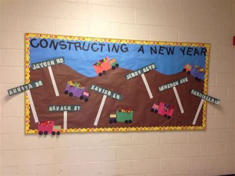 newspaper themed bulletin board construction themed bulletin board for the new year