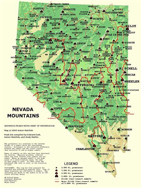 nevada mountains map nevada mountain atlas