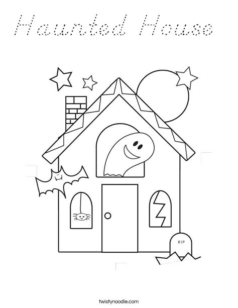 Haunted House Coloring Page D Nealian Twisty Noodle Haunted House Color Page