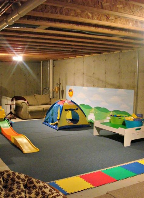 unfinished basement playroom ideas