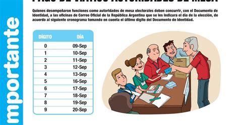 cronograma de pago de vi 225 ticos a autoridades de mesa de