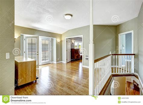 house design living room upstairs upstairs room with walkout deck in empty house stock photo