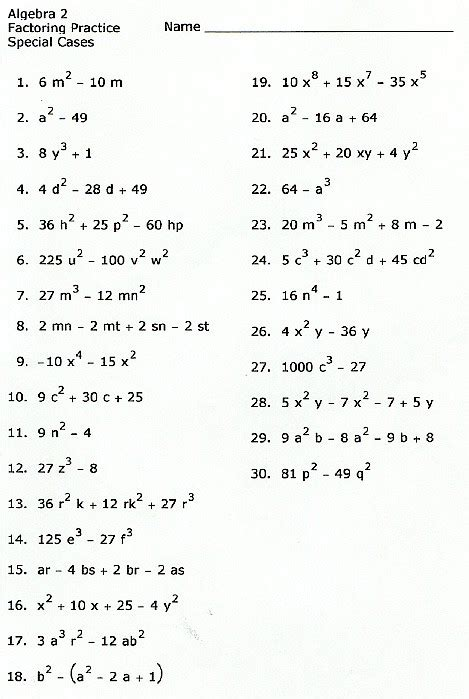 Factoring Special Cases Worksheet by Factoring Polynomial Worksheet Worksheets