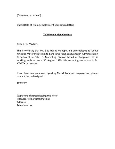 Employment Letter To Whom It May Concern The Gallery For Gt Employment Verification Letter To Whom It May Concern