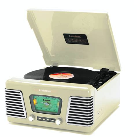 Record Uk Steepletone Usb Norwich Retro Wooden Record Player Radio Light Wood Steepletone Usb