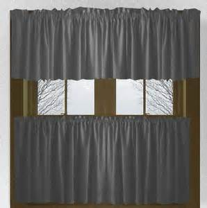 Gray Cafe Curtains Solid Charcoal Gray Kitchen Cafe Tier Curtains