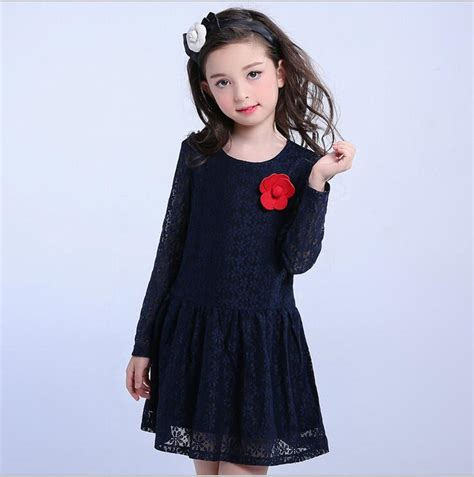 simple trendy lace dress baby girl clothes navy blue