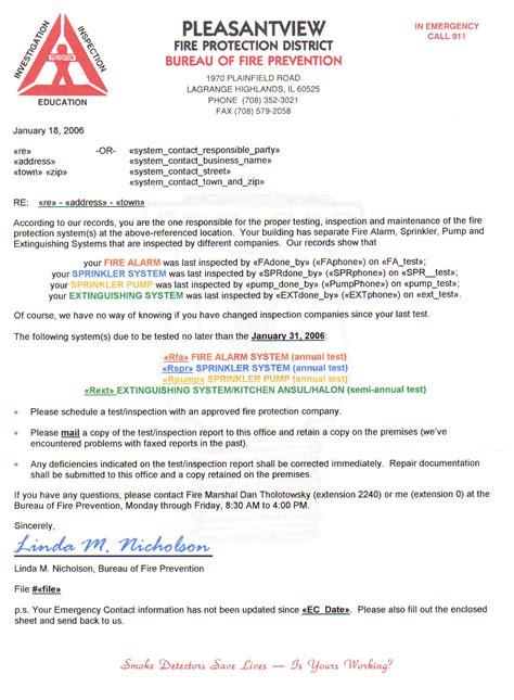 Sprinkler Inspector Cover Letter by National Sprinkler Association Illinois Chapter Chapter Officials