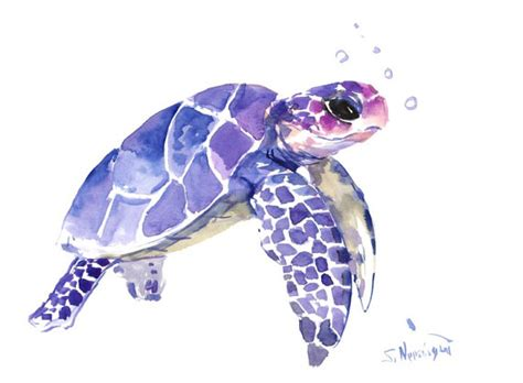 watercolor tattoo turtle sea turtle painting original watercolor painting by