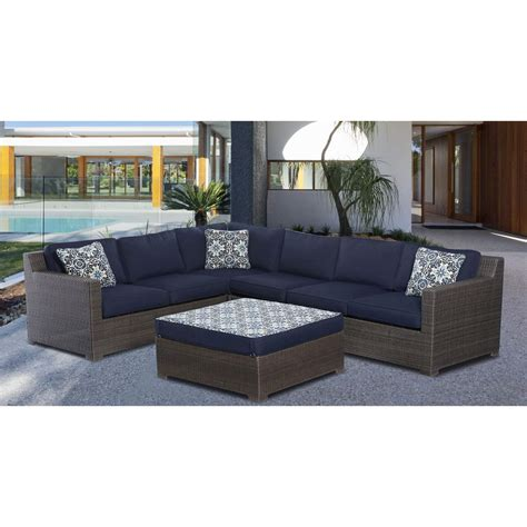 Metropolitan 5 Piece Sectional Set in Navy Blue with Gray