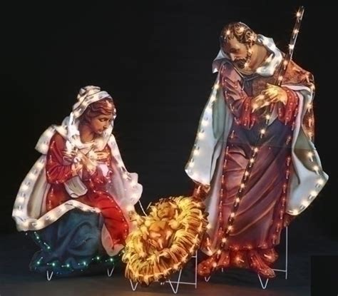 3 pc holographic lighted christmas outdoor nativity scene set site large scale indoor outdoor nativity sets and yard decor