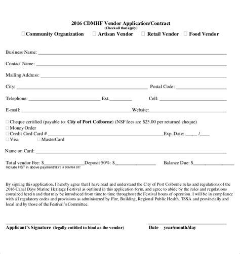 vendor form template 10 vendor application templates free sle exle