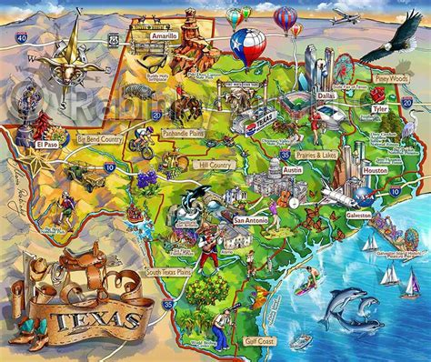 texas tourist map texas map area attraction illustrated map