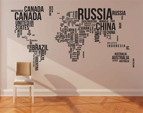 cool wall art world map wall decal large typography map 130 w by newpoint