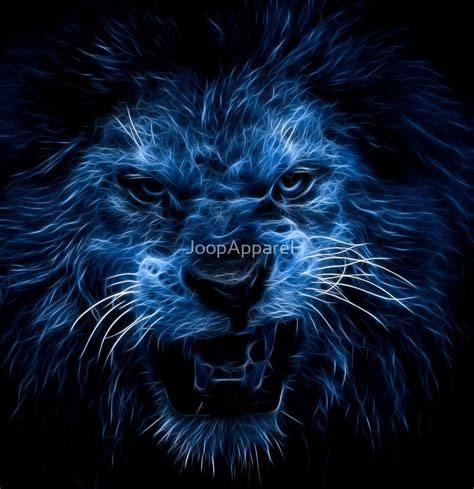 Tiger Wall Stickers quot blue neon lion quot by joopapparel redbubble