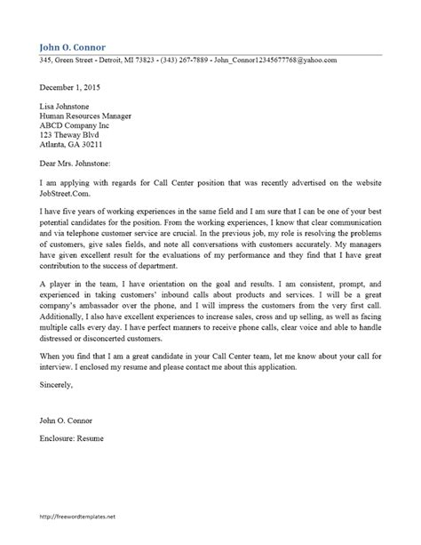 Call Center Cover Letter by Customer Service Rep Call Center Cover Letter